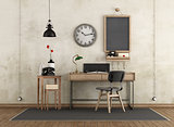Home workspace in industrial style