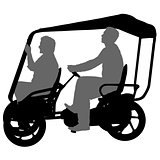 Silhouette of two athletes on tandem bicycle on white background