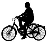 Silhouette of a tricycle male on white background