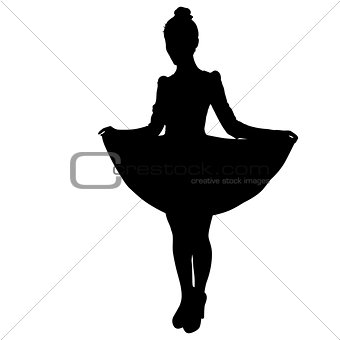 Beautiful fashion girl silhouette on a white background