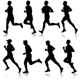 Set of silhouettes. Runners on sprint, men. vector illustration