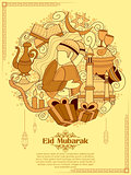 Eid Mubarak Happy Eid background for Islam religious festival on holy month of Ramazan