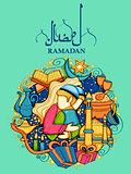 Eid Mubarak Happy Eid background for Islam religious festival on holy month of Ramazan