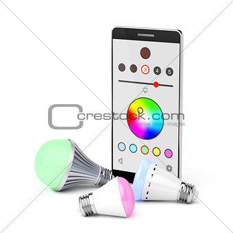 Smartphone and LED light bulbs