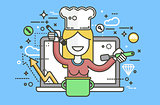 Vector illustration chef cook nutritionist dietician woman HLS cooking training education recipe blog proper healthy eating lifestyle online TV show nutrition line art