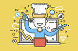 Vector illustration chef cook nutritionist dietician man HLS cooking training education recipe blog proper healthy eating lifestyle online TV show nutrition line art