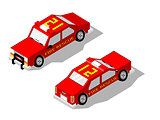 Isometric fire rescue car showing front and rear  views