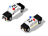 Isometric police car showing front and rear  views