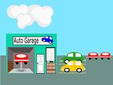 Flat Design  Auto Garage Scene