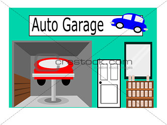 Flat Design Icon Auto Garage