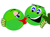 Emoji Green Couple about to kiss holding clover