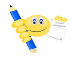 Emoji with Large Blue Pencil and Paper to sign