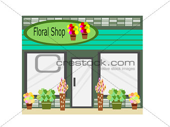 Flat Design  Floral Shop Business Building