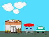 Flat Design  Grocery Store Scene
