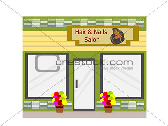 Flat Design Hair and Nail Business Building
