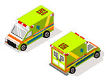 Isometric Vechicle Transportation Ambulance