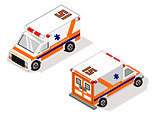 Isometric White Vechicle Transportation Ambulance