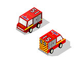 Isometric red fire rescue