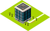 Isometric glass building