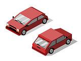 Isometric maroon hatchback