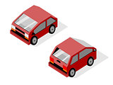 Isometric maroon smart car
