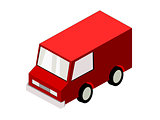 Isometric red van isolated