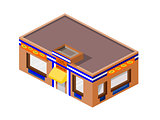 Isometric Taco Business Building