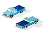 Isometric truck blue