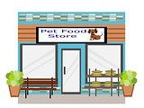 Flat Design  Pet Food Store Business Building
