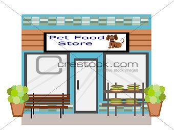 Flat Design  Pet Food Store Business Building