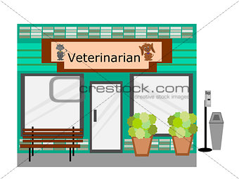 Flat Design  Veterinarian Business Building