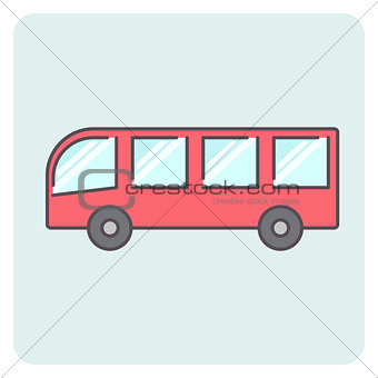 Flat outlone red bus icon