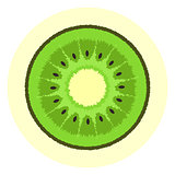 Cute ribby kiwi icon, kiwi split in a half