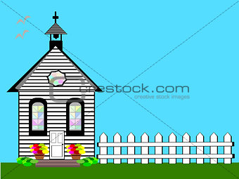 Church White Landscape Scene Flat Design