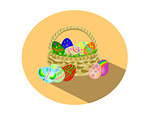 Easter eggs in a basket flat design circular icon
