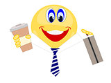 Emoji business man holding coffee and briefcase