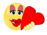 Emoji female lovingly holding a large red heart