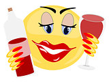Emoji female holding bottle and glass of red wine