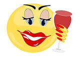 Emoji female holding glass of red wine