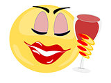 Emoji female holding glass of red wine with eyes closed