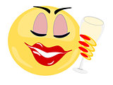 Emoji female holding glass of white wine with eyes closed