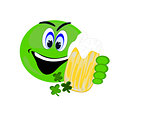 Green emoji holding a beer