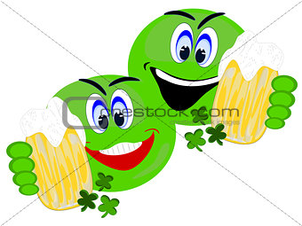 Green Emoji Irish pals having  beer together