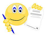 Emoji holding pen with paper to sign