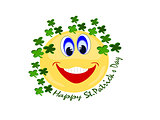 Emoji surrounded by four leaf clovers with St.Patrick's Day text