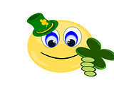 Emoji holding four leaf clover wearing green Irish hat