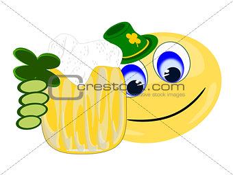 Green Emoji holding  one large beer