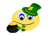 Emoji Irish with pot of gold and green hat