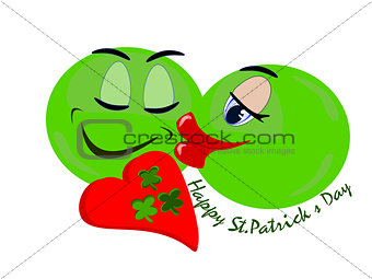 Green emoji couple in love on St.Patrick's Day