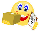 Emoji delivering package with clip board paperwork